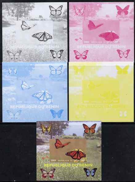 Benin 2009 Butterflies #4 individual deluxe sheet - the set of 5 imperf progressive proofs comprising the 4 individual colours plus all 4-colour composite, unmounted mint