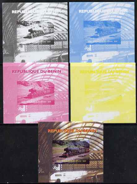 Benin 2009 Steam Locomotives #1 individual deluxe sheet - the set of 5 imperf progressive proofs comprising the 4 individual colours plus all 4-colour composite, unmounted mint