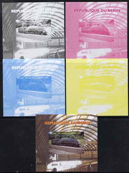 Benin 2009 Steam Locomotives #3 individual deluxe sheet - the set of 5 imperf progressive proofs comprising the 4 individual colours plus all 4-colour composite, unmounted mint