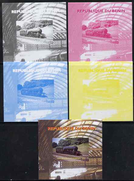 Benin 2009 Steam Locomotives #4 individual deluxe sheet - the set of 5 imperf progressive proofs comprising the 4 individual colours plus all 4-colour composite, unmounted mint