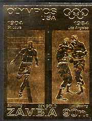 Zambia 1984 Los Angeles Olympic Games 90n imperf embossed in 22k gold foil showing Sprinting & Boxing unmounted mint