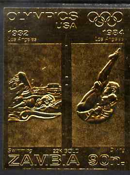 Zambia 1984 Los Angeles Olympic Games 90n imperf embossed in 22k gold foil showing Swimming & Diving unmounted mint