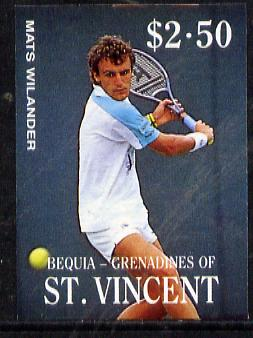 St Vincent - Bequia 1988 International Tennis Players $2.50 (Mats Wilander) imperf progressive proof in 4 colours only (orange omitted leaving Country, name and value in white) unmounted mint*
