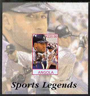 Angola 2000 Sports Legends - Derek Jeter (Baseball) imperf deluxe souvenir sheet unmounted mint