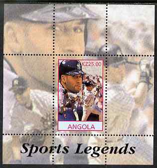 Angola 2000 Sports Legends - Derek Jeter (Baseball) perf deluxe souvenir sheet unmounted mint