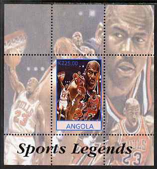 Angola 2000 Sports Legends - Michael Jordan (Basketball) perf deluxe souvenir sheet unmounted mint
