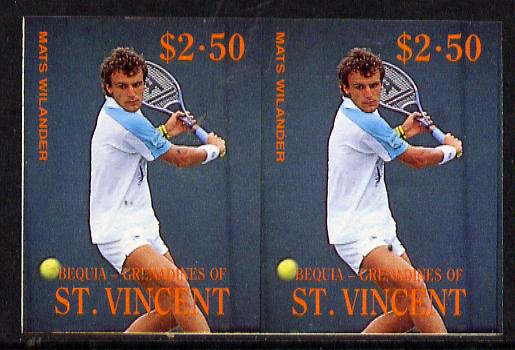 St Vincent - Bequia 1988 International Tennis Players $2.50 (Mats Wilander) imperf horiz pair unmounted mint*