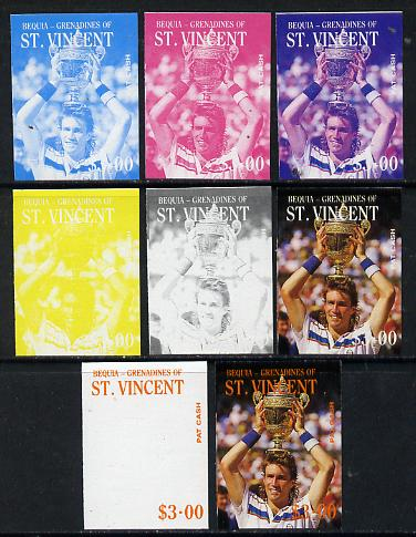 St Vincent - Bequia 1988 International Tennis Players $3 (Pat Cash) set of 8 imperf progressive proofs comprising the 5 individual colours plus 2, 4 and all 5 colour composites unmounted mint*
