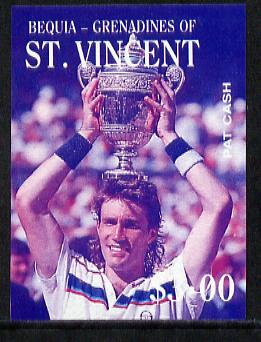 St Vincent - Bequia 1988 International Tennis Players $3 (Pat Cash) imperf progressive proof in blue & magenta only unmounted mint*