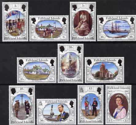 Falkland Islands 1983 150th Anniversary of British Administration definitive perf set of 11 unmounted mint, SG 439-49