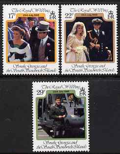South Georgia & the South Sandwich Islands 1986 Royal Wedding (Prince Andrew & Miss Sarah Ferguson) perf set of 3 unmounted mint, SG 158-60, stamps on royalty, stamps on helicopters