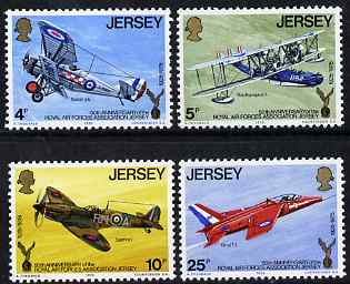 Jersey 1975 50th Anniversary of Royal Air Force Association, Jersey perf set of 4 unmounted mint, SG 133-36