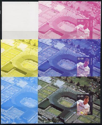 St Vincent - Bequia 1988 International Tennis Players $5 m/sheet (Ivan Lendl) set of 6 imperf progressive proofs comprising 3 individual colours plus various colour composites unmounted mint
