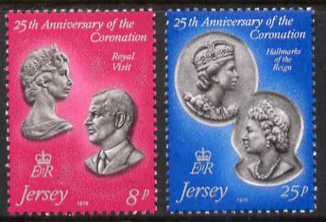 Jersey 1978 25th Anniversary of Coronation perf set of 2 unmounted mint, SG 195-96