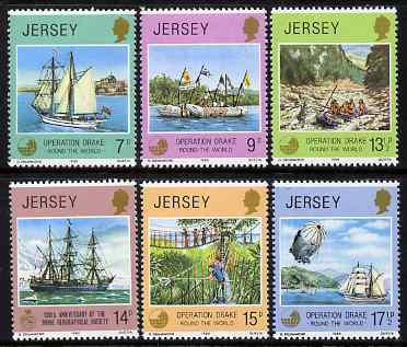 Jersey 1980 Operation Drake & 150th Anniversary of Royal Geographical Society perf set of 6 unmounted mint, SG 238-43