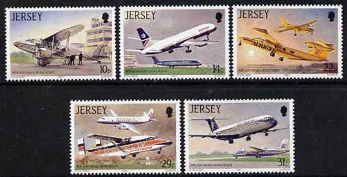 Jersey 1987 50th Anniversary of Jersey Airport perf set of 5 unmounted mint, SG 409-13