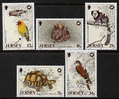 Jersey 1988 Wildlife Preservation Trust (5th series) perf set of 5 unmounted mint, SG 447-51