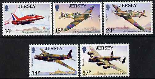 Jersey 1990 50th Anniversary of Battle of Britain perf set of 5 unmounted mint, SG 530-34