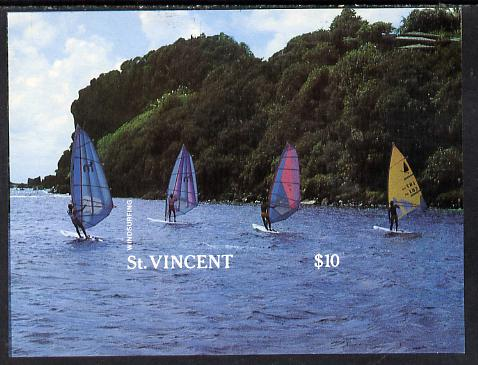 St Vincent 1988 Tourism m/sheet Windsurfers proof as issued but imperf (ex Format archives) as SG MS 1136a, stamps on tourism    sport    wind-surfing
