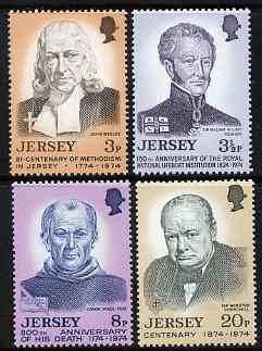 Jersey 1974 Anniversaries set of 4 unmounted mint, SG 111-114