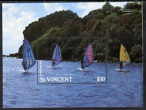 St Vincent 1988 Tourism m/sheet Windsurfers unmounted mint SG MS 1136a, stamps on tourism    sport    wind-surfing