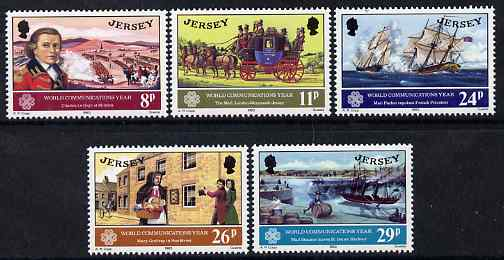 Jersey 1983 World Communications Year & 250th Birth Anniversary of Charles Le Geyt set of 5 unmounted mint, SG 314-18