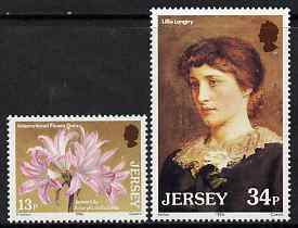 Jersey 1986 Jersey Lilies set of 2 unmounted mint, SG 380-81