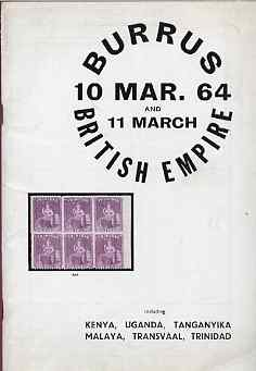 Auction Catalogue - British Empire with Kenya, Kenya, Uganda & Tanganyika, Transvaal & Trinidad - Robson Lowe 10-11 Mar 1964 - the Burrus coll - cat only
