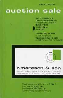 Auction Catalogue - Canada - Maresch 14-15 May 1996 - incl the Bill Simpson coll of Small Queens - cat only
