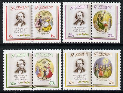 St Vincent 1987 Christmas (Charles Dickens) set of 8 unmounted mint (4 se-tenant pairs) as SG 1116-23 (gutter pairs available pro-rata)