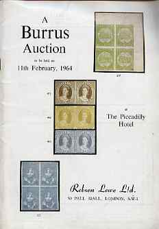 Auction Catalogue - Australia with New South Wales, Queensland & Victoria - Robson Lowe 11 Feb 1964 - the Burrus coll - cat only (cover a little grubby)