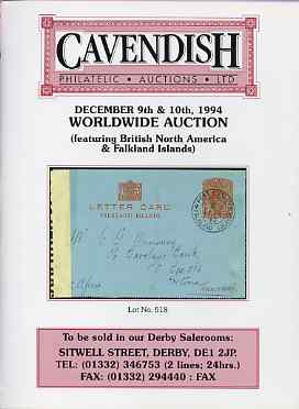 Auction Catalogue - WW1 & WW2 Undercover Mail - Cavendish 9-10 Dec 1994 - Worldwide incl the Dave Birtwell coll - cat only
