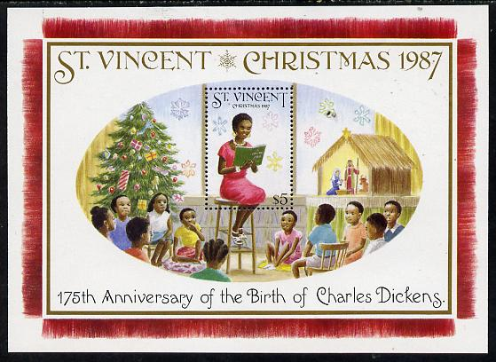 St Vincent 1987 Christmas (Charles Dickens) m/sheet (Teacher reading to Class) unmounted mint SG MS 1124