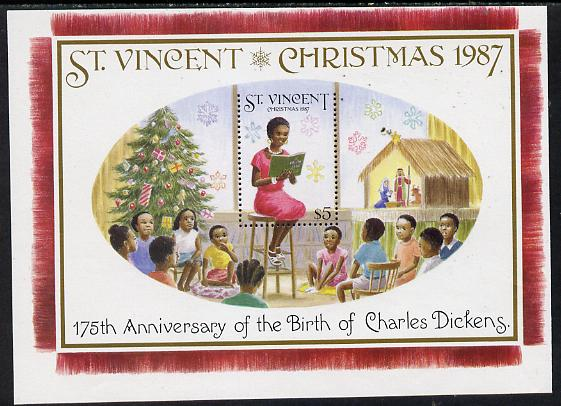 St Vincent 1987 Christmas (Charles Dickens) m/sheet (Teacher reading to Class) $5 stamp perf on 3 sides only (imperf at top) unmounted mint as SG MS 1124