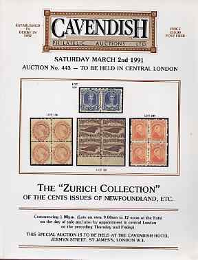 Auction Catalogue - Newfoundland - Cavendish 2 Mar 1991 - the Zurich coll - cat only