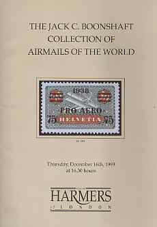 Auction Catalogue - Airmails - Harmers 16 Dec 1993 - the Jack C Boonshaft coll - with prices realised