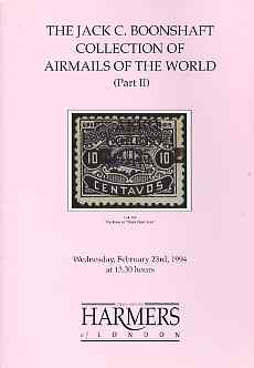 Auction Catalogue - Airmails - Harmers 23 Feb 1994 - the Jack C Boonshaft coll part 2 - cat only