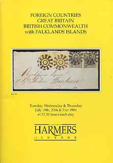 Auction Catalogue - Falkland Islands - Harmers 19-21 July 1994 - incl the E J Andrews coll - with prices realised (some ink notations)