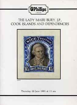 Auction Catalogue - Cook Islands - Phillips 20 June 1991 - the Lady Mairi Bury JP - cat only