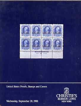 Auction Catalogue - United States  Proofs, Stamps & Covers - Christie