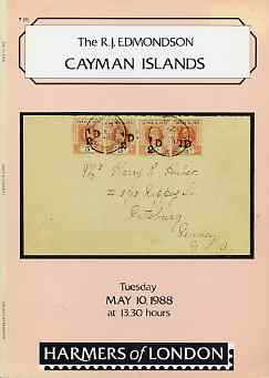 Auction Catalogue - Cayman Islands - Harmers 10 May 1988 - the R J Edmondson coll - with prices realised