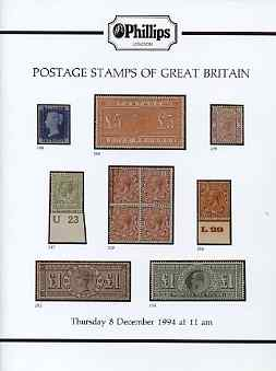 Auction Catalogue - Great Britain - Phillips 8 Dec 1994 - with prices realised