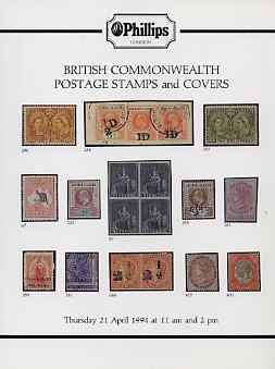 Auction Catalogue - British Commonwealth - Phillips 21 Apr 1994 - incl West Indies & Canada - with prices realised (some ink notations)