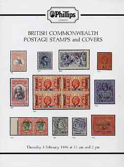 Auction Catalogue - British Commonwealth - Phillips 3 Feb 1994 - incl India & States & Canada - with prices realised