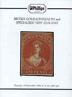 Auction Catalogue - British Commonwealth - Phillips 10 Nov 1994 - incl the Ian Fogg & W Jackson collections of New Zealand - with prices realised