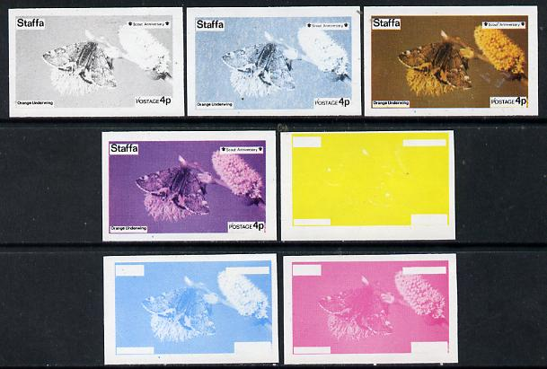 Staffa 1974 Butterflies & Scout Anniversary 4p (Orange Underwing) set of 7 imperf progressive colour proofs comprising the 4 individual colours plus 2, 3 and all 4-colour composites unmounted mint
