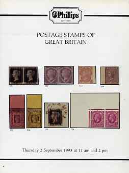 Auction Catalogue - Great Britain - Phillips 2 Sept 1993 - with prices realised