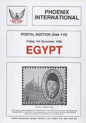 Auction Catalogue - Egypt - Phoenix International 4 Dec 1998 - cat only