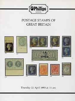 Auction Catalogue - Great Britain - Phillips 22 Apr 1993 - incl the David J Hiscock coll - with prices realised