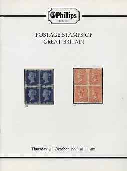 Auction Catalogue - Great Britain - Phillips 21 Oct 1993 - with fine Line Engraved etc - cat only (some ink notations)